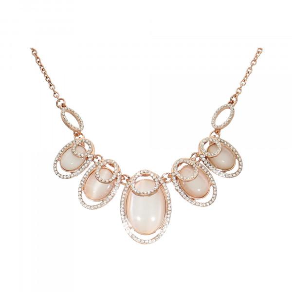 Collier rosévergoldet mit Cateye-Steinen und Kristallen
