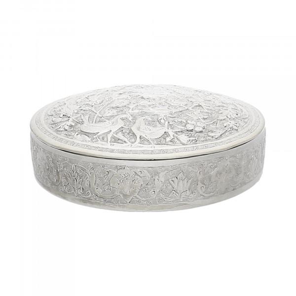 Silber-Dose mit Deckel rund handgetrieben