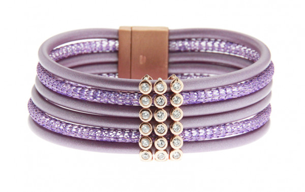 Armband Kupfer/Kautschuk lila/flieder 6 reihig mit Zirkonia