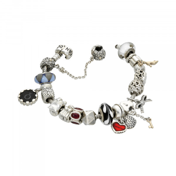"""PANDORA"" Armband 925 Silber mit 19 Anhängern"