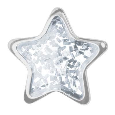 Ohrstecker Chirurgenstahl Stern Glitter weiß 6,0 mm