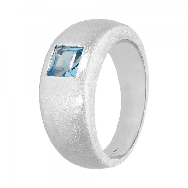 Ring.750 Weißgold mit Blautopas Karree Gr.53