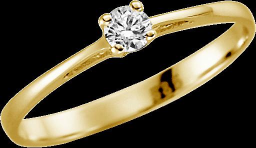 Solitär-Ring 585 GG mit 1 Brillant 0,08 ct. w-si