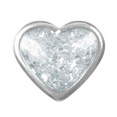 Ohrstecker Chirurgenstahl Herz Glitter weiß 6,0 mm