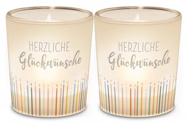 """Teelichthalter """"Herzliche Glückwünsche"""""""