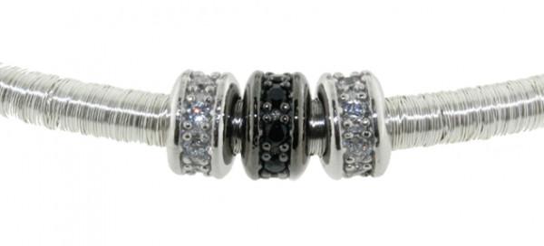 Kette Kupfer/Messing Silber mit Zirkonia