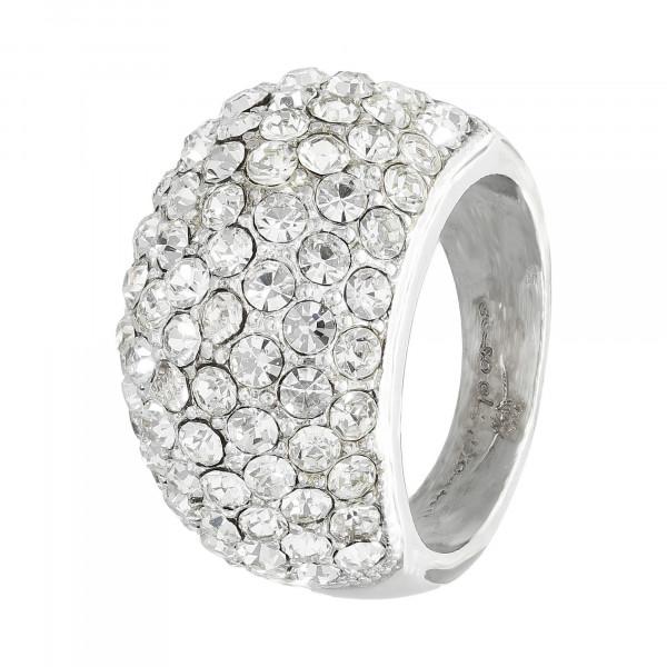 Ring Metall mit Kristallen weiß