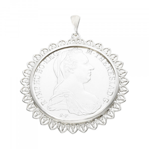 "Anhänger Silber 835 mit Münze ""Maria Theresia"""