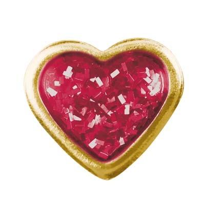 Ohrstecker Chirurgenstahl Herz Glitter rot 6,0 mm vergoldet