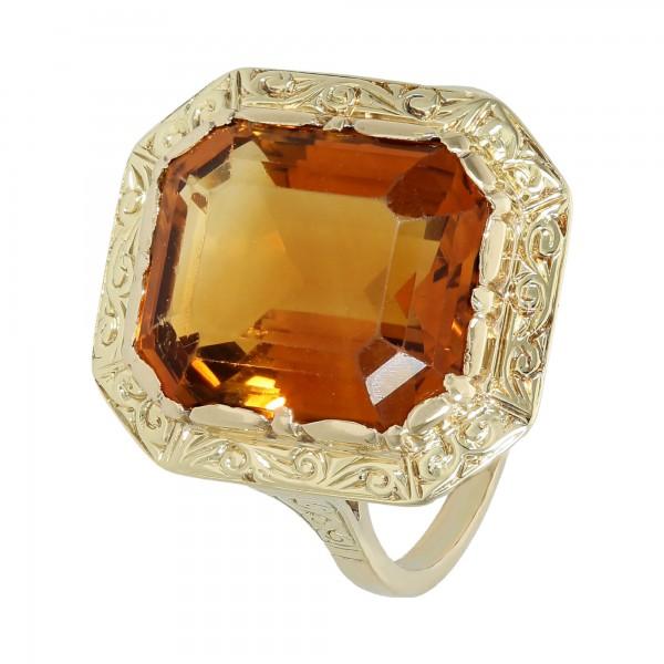 Ring 585 Gelbgold mit orange Citrin