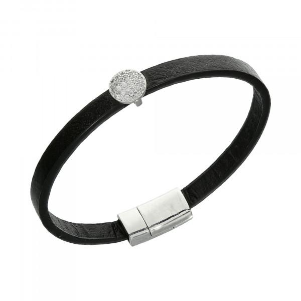 Armband Leder schwarz mit Kristallen rund