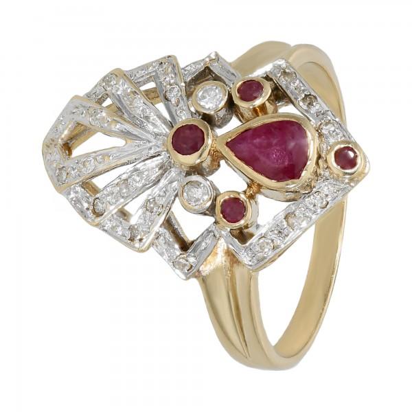 Ring bicolor 585 mit Rubin und Diamanten ca.0,24 ct.