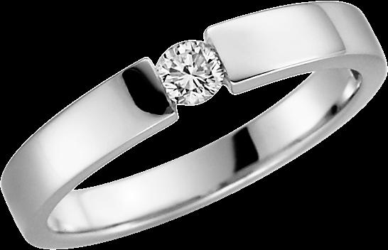 Solitär-Ring Silber 925 mit 1 Brillant 0,08 ct. w-si mattiert