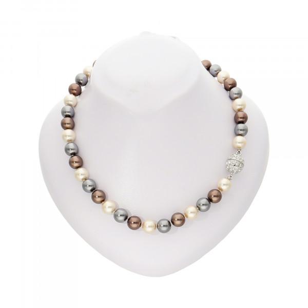 Perlenkette creme/grau/braun mit Magnetverschluss silber
