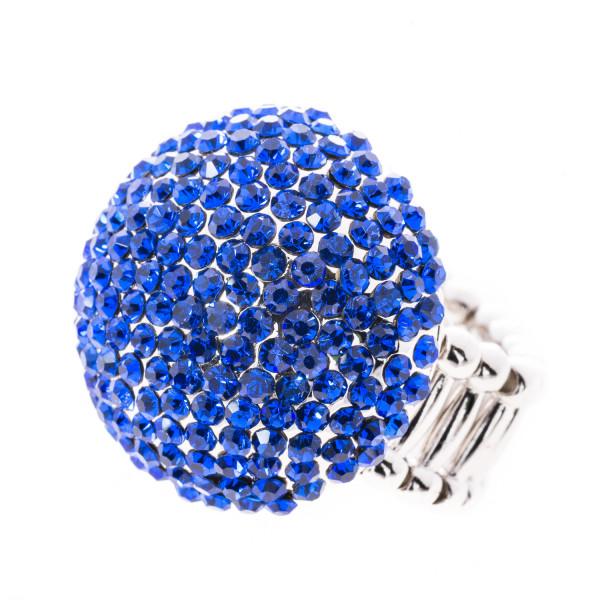 Elastik-Ring mit Kristallen royalblau