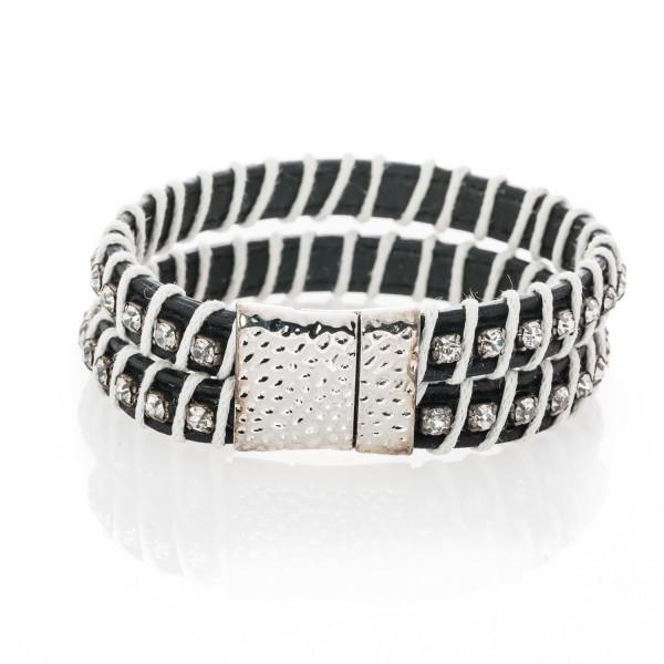 Armband schwarz/weiß mit Kristallen im Vintage Style