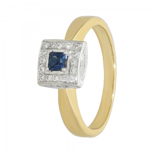 RING 750 bicolor mit blau Saphir + Diamanten
