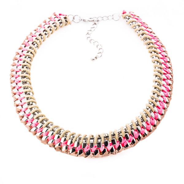 "Collier Metall/Textil ""Modern"" beige/pink"