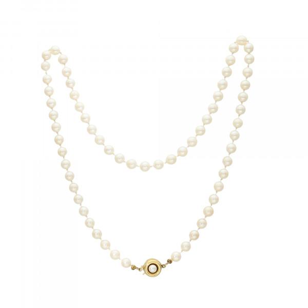 Perlenkette 1 reihig mit silbervergoldet Schloß 835