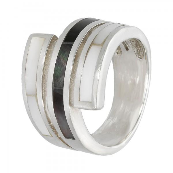 Ring Silber 925 mit hell & dunkel Perlmutt