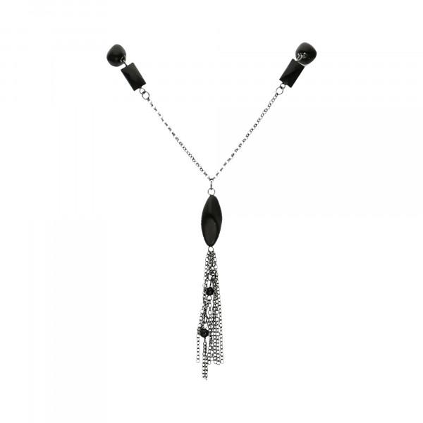 Kette Metall anthrazitfarbig mit schwarzen Steinen 100-105 ccm