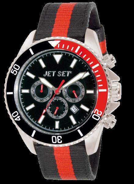 """Armbanduhr """"Jet Set"""" Speedway schwarz / rot Nylon J212 03-11"""