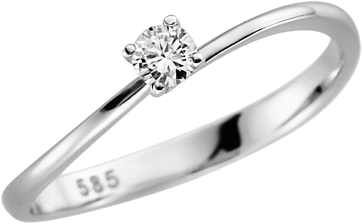 Solitär-Ring 585 WG mit 1 Brillant 0,08 ct. w-si