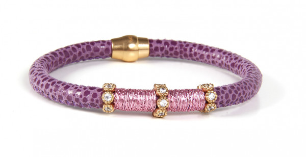Armband Leder/Kupfer lila mit Zirkonia