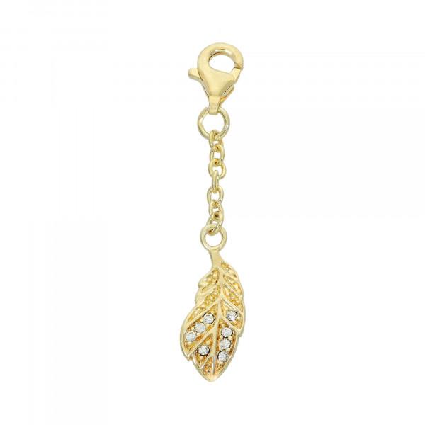 Anhänger 925 Silber vergoldet Blatt mit Kristallen