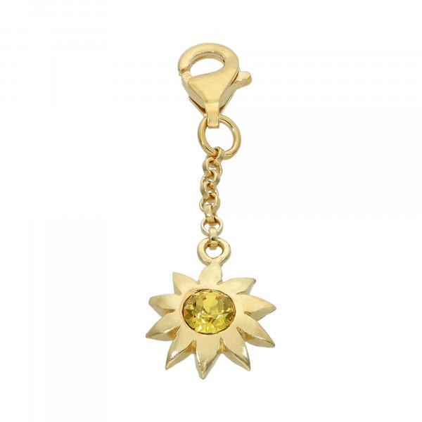 Anhänger 925 Silber vergoldet Stern mit Kristall gelb