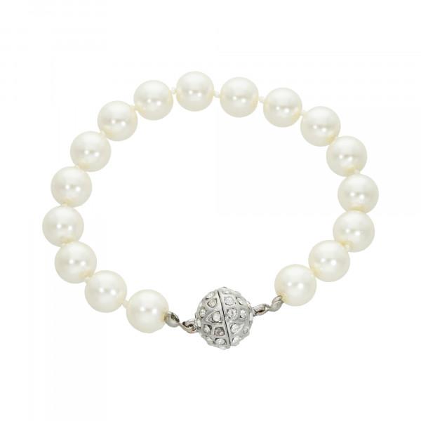 Perlenarmband weiß mit Magnetverschluss silber