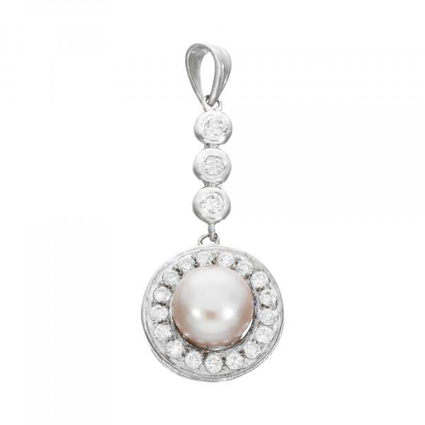 Anhänger Silber 925 mit Perle und Zirkonia