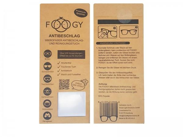 FOOGY Mikrofaser Antibeschlag - und Reinigungstuch für Brillen