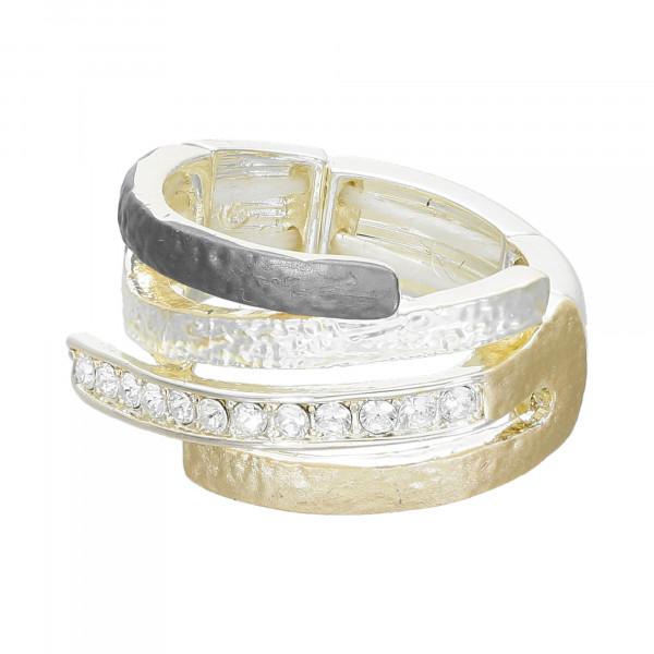 Stretch-Ring.Tri-Colour gold, anthrazit, silber mit Kristallen
