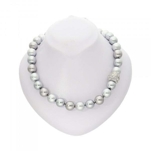 """Perlenkette """"XXL"""" grau mit Magnetverschluss silber"""