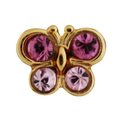 Ohrstecker Gelbgold 14 Karat Schmetterling pink, rosa