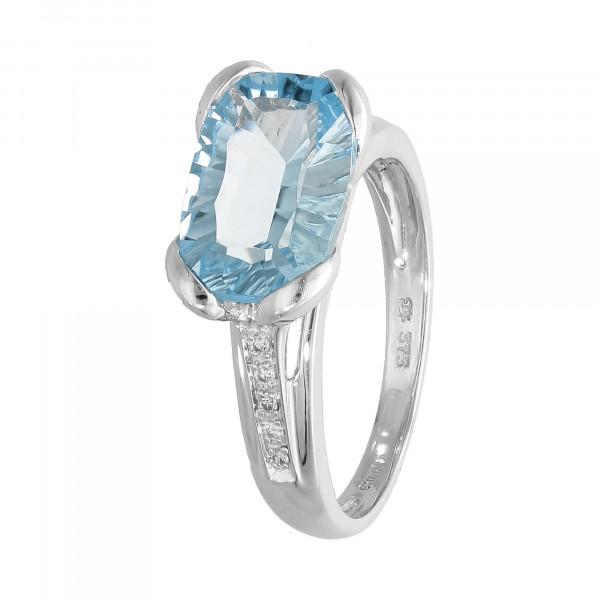 Ring 375 Weißgold mit Topas und Diamant