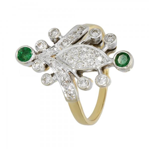 Ring bicolor 750 mit Samaragd und Diamanten ca.0,42ct.