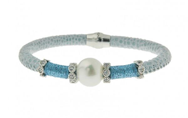 Armband Leder/Kupfer hellblau mit Perle + Zirkonia