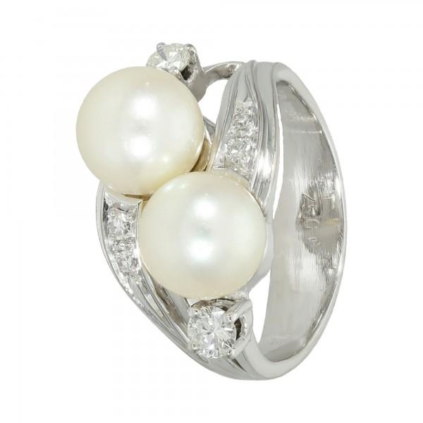 Ring 750 Weißgold mit Perlen + Brillanten