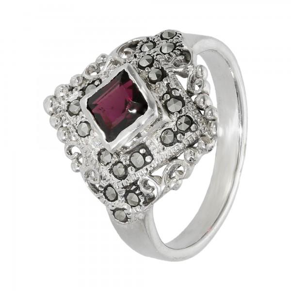 Ring 925 Silber mit Granat und Markasiten
