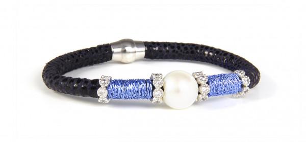 Armband Leder dunkelblau mit Perle + Zirkonia