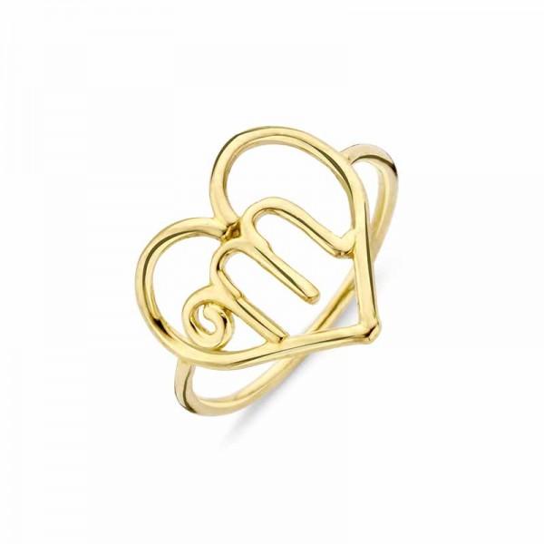 Ring Silber 925 vergoldet Herz -M- Gr. 55