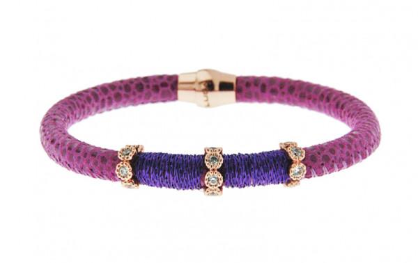 Armband Leder/ Kupfer violett mit Zirkonia