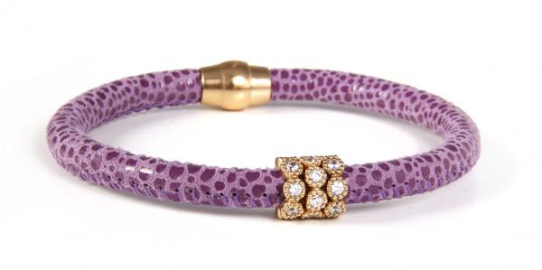 Armband Leder lila mit Zirkonia