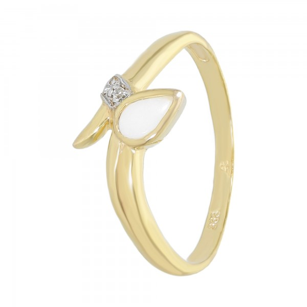 Ring 333 Gelbgold mit Opal + Diamant