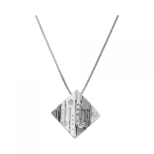 """Kette Metall mit Anhänger """"Raute"""" grau mit Kristallen"""