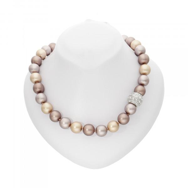"Perlenkette ""XXL"" kupfer matt mit Magnetverschluss silber"