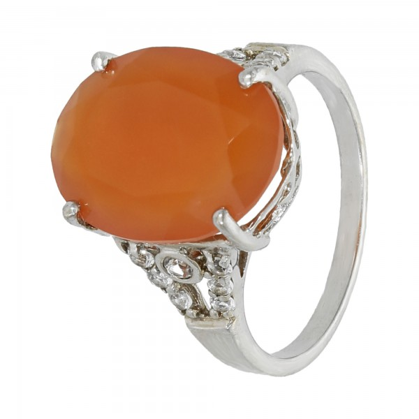 Ring 925 Silber mit Carneol und Kristallen
