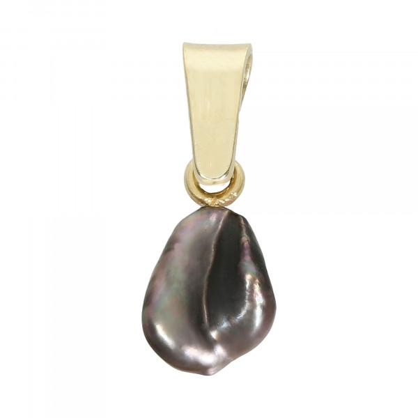 Anhänger 585 Gelbgold mit Perle grau